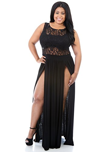 Rekais Sexy Plus Size Reign Maxi Dress Slit Cocktai Party Dress (US20-22 black)