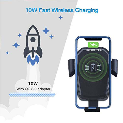 (Wireless Car Charger, QC3.0 Fast Wireless Charger Car Mount, Air Vent Phone Holder, 10W Charging for Samsung Galaxy S9/8/7/Note 8, 7.5W for iPhoneX/8/8 Plus and More Qi Phones【Including Car Charger】)