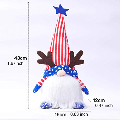 Gerbrief 2PCS Gnome Plush Collectible Dolls Decoration Patriotic Tomte Veterans Day Household Ornaments Decor Garden Dolls Home Collectible Gifts (U)