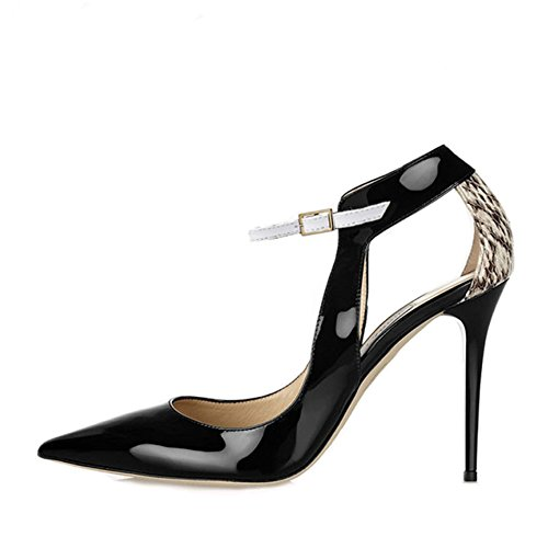 Toe shoes On Pumps Classic Pointed Slip Closed Dress 93in 3 Women's Strap JF Stiletto Black 0HSxII