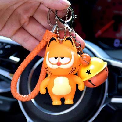 Best Quality - Key Chains - Cartoon Garfield Cat Kitty Animal Keychain Women Camera Fur Pom poms Pompom Key Ring Chains Leather Trinket Car Bag Charm D97 - by PPL88-1 PCs -