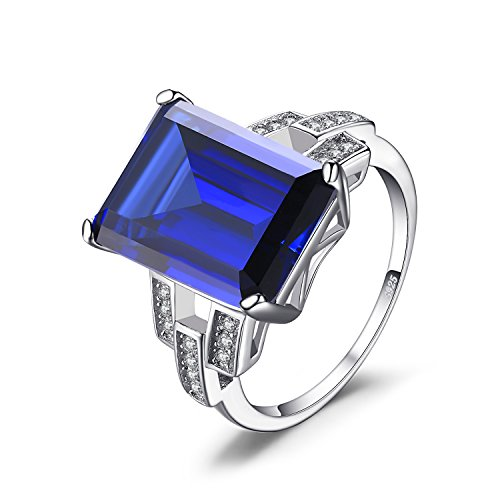 JewelryPalace Luxury Emerald Cut 9.6ct Created Blue Sapphire Cocktail Ring Genuine 925 Sterling Silver Size 8 Cocktail Princess Ring