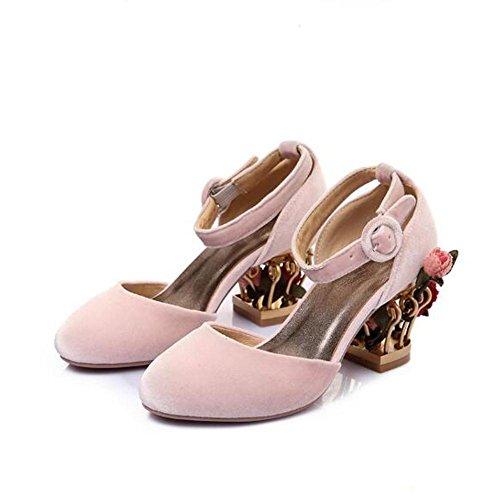 L@YC Frauen-Absatz-Shaped Round Head K?fig mit flachen Mund Leder Schnalle Schuhe Pink