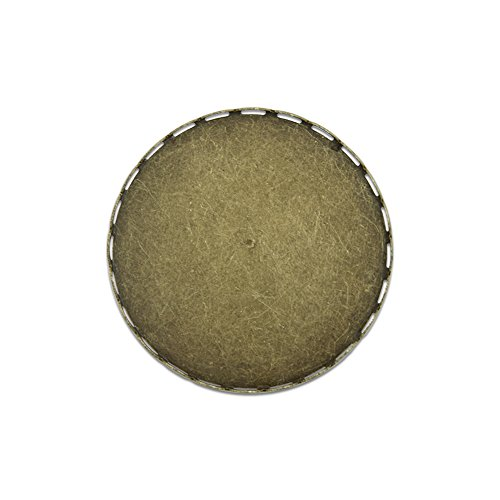 - 30mm Round Filigree Brass Bezel Brooch Base with Pin Back Findings Pack of 20 (Antique Bronze)