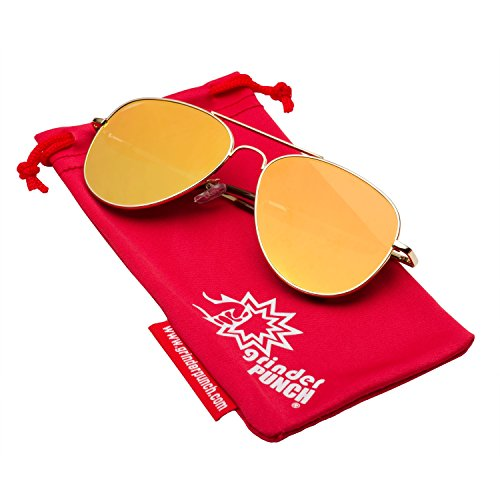 grinderPUNCH Aviator Sunglasses with Flat Mirrored Lens Orange - Sunglasses Flat Mens