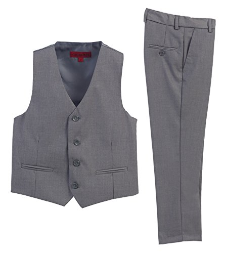 2 Piece Kids Boys Gray Vest And Pants Formal Set, (Boys Gray Vest)