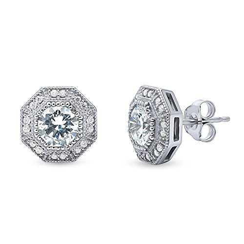 - BERRICLE Rhodium Plated Sterling Silver Halo Milgrain Art Deco Anniversary Wedding Stud Earrings Made with Swarovski Zirconia Octagon Sun Cut