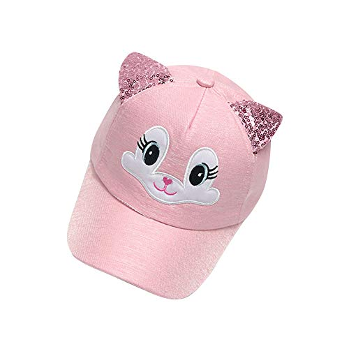 (leomoste Kids Girls Boys Cute Cartoon Baseball Cap with Sequin Ears Trucker Hats Adjustable for 1 to 4 Years Pink)