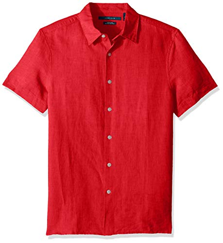 Perry Ellis Men's Short Sleeve Solid Linen Cotton Button-Up Shirt, Haute red/BSW Large