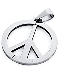 Mens Womens Stainless Steel Peace Symbol Pendant Necklace Polished With a 22 inch Chain