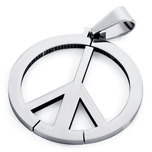 MENDINO Mens Womens Stainless Steel Peace Symbol Pendant Necklace Polished With a 22 inch Chain
