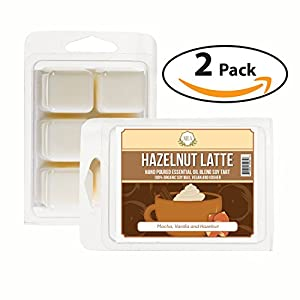AIRA Soy Wax Melt - Organic, Vegan, Kosher, Scented Soy Wax Cubes w/ Essential Oil Blends - No Chemical 100% Soy Wax Melts for Electric/Tealight Melters - Hand-poured Soy Tarts- Hazelnut Latte -2 Pack