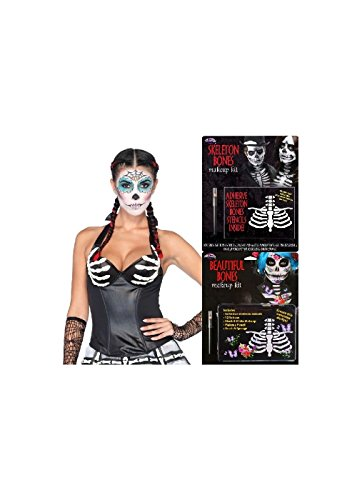 Day of The Dead Latex Corset and Skeleton Bones Makeup Women Set (Small)
