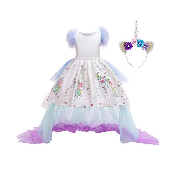 JiaDuo Girls Princess Party Dress, Rainbow Tutu Train & Headband 4