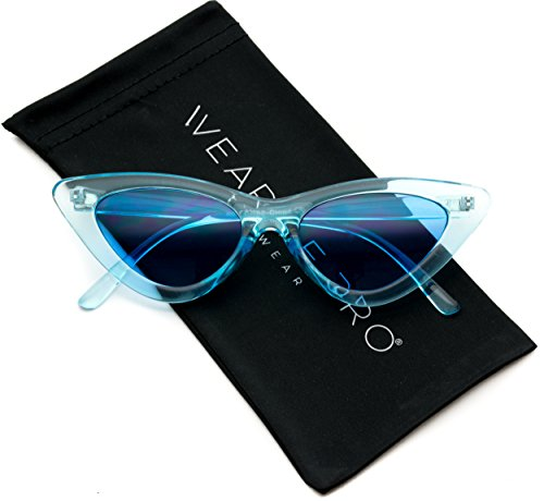 WearMe Pro - Retro Vintage Tinted Lens Cat Eye Sunglasses (Clear Blue Frame / Tinted Blue Lens, - Small Cat Eye