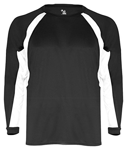 - Badger Sport Long-Sleeve Hook Performance T-Shirt with Contrast Side Panel Inserts - 4154 - Black / White - X-Large