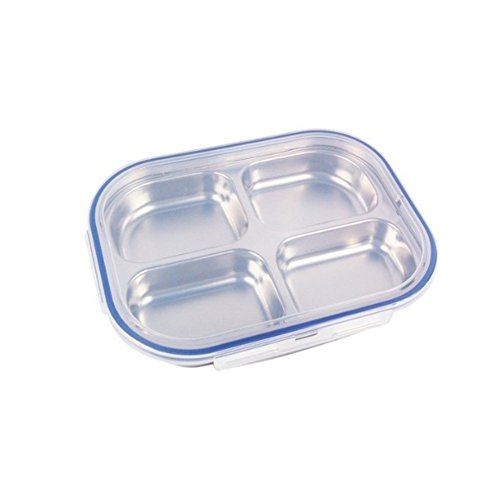 Storage Containers Divided Dinner Snack Plate Kids Baby Plate Diet Plate Diet Food Control Tray (4 Section Blue) (4 Stainless Trays)