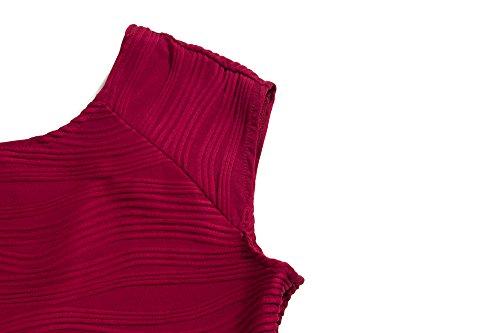 Les Femmes Bewish Manches Col Ras Du Cou Rayé De Style Rétro Robe Dos Nu Amincissent Midi Rouge