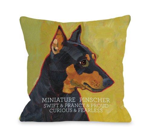 One Bella Casa Miniature Pinscher 1 Pillow for Pets, 16 by 16-Inch from One Bella Casa