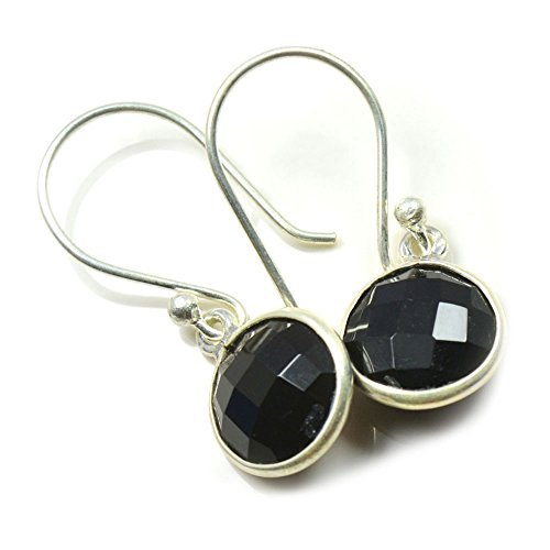 Jewelryonclick Genuine Faceted round Black Onyx Earring For Women 925 Sterling Silver Fashion (Faceted Onyx Ring)