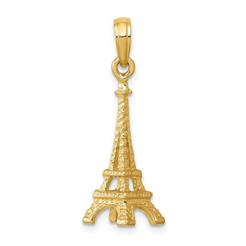 14k Yellow Gold Solid 3 D Eiffel Tower Pendant Charm Necklace Travel Transportation Fine Jewelry Gifts For Women For Her