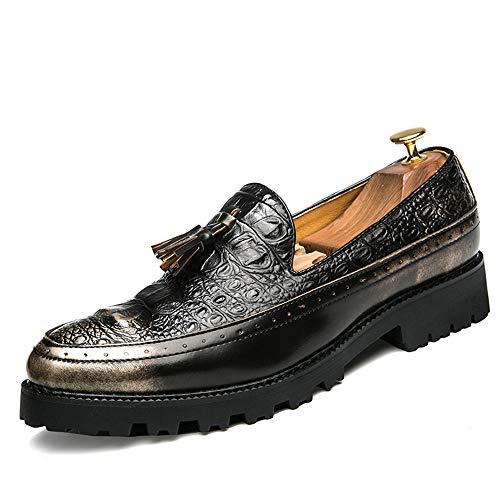 Xiaojuan-shoes, Scarpe Oxford da uomo Business Casual High-end classiche stile vintage casual da uomo,Scarpe Uomo Pelle (Color : Nero, Dimensione : 39 EU) Gold
