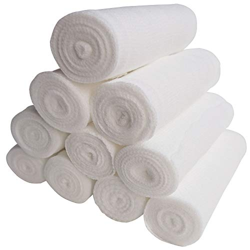 Hulless Pack of 24 Gauze Stretch Bandage Roll Disposable Elastic Gauze Bandages 4 x 4 Yards Stretched First Aid Gauze Wound Care, Ankles & Knees and Hand Wrap Dressing. ()
