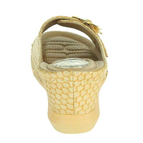 Mujer Señoras Presión Punto suave Flexible Masaje Verano Ligero Ponerse Tacón de cuña Sandalias Zapatos tamaño Beige
