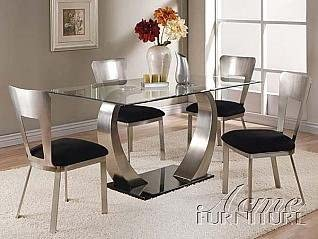Amazon Com Acme Furniture 8mm Clear Glass Dining Table 5 Piece 10090 Set Table Chair Sets