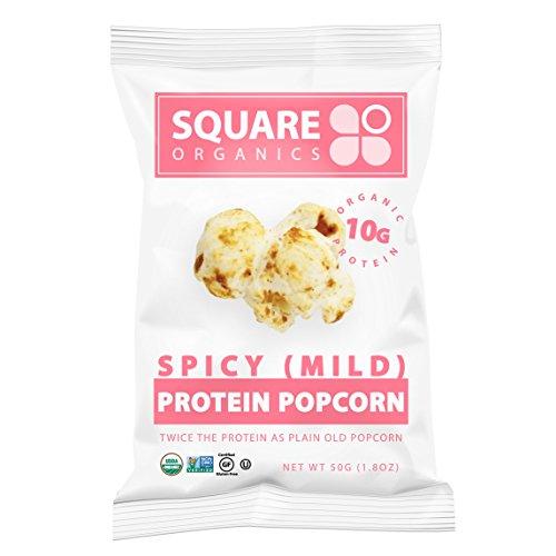 ,Square Organics Organic Protein Popcorn Spicy Mild, 9 Count, Gluten-Free Soy-Free Dairy-free Vegan Organic High Protein (Mild Organic Brown Rice)