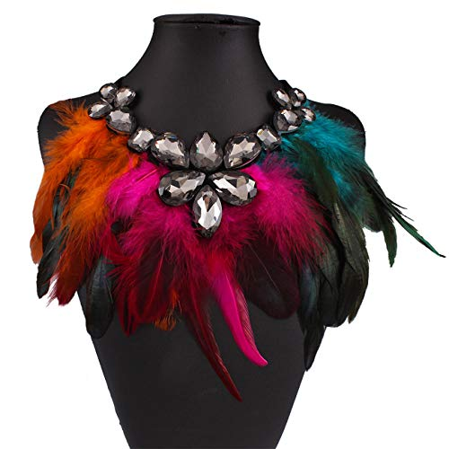 Girls Women Lady Wedding Bohemian Tassels Collars Statement Necklace Feather Rhinestone Clavicle Short Necklace False Collar (Colorful) ()
