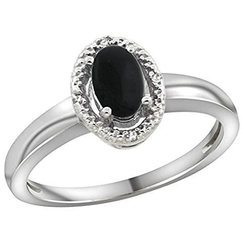 Sterling Silver Diamond Halo Natural Black Onyx Ring Oval 6X4 mm, 3/8 inch wide, size 9.5 (Oval Cut Black Onyx Ring)