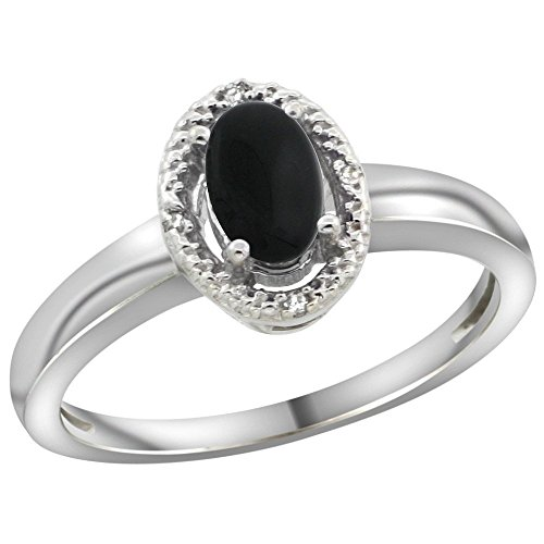 Sterling Silver Diamond Natural Black