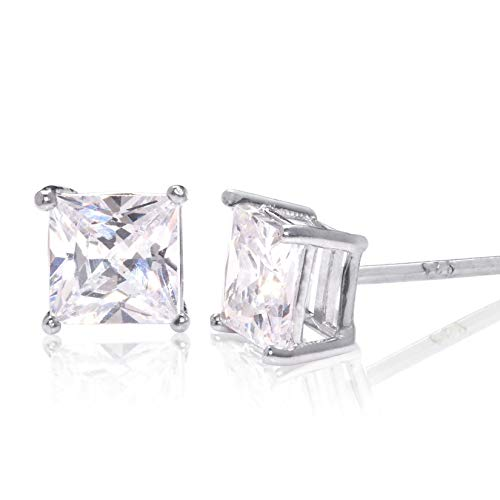 - Square Princess Cut 6mm white Cubic Zirconia .925 Sterling Silver Basket Setting Unisex Stud Earrings