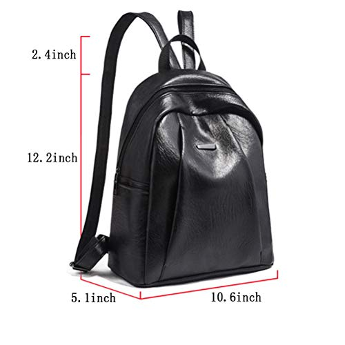 Purse Color Backpack Tote Ladies Preppy Solid Style PU Handbag Women Black Leather Heartell Teenager UIwgq7nq