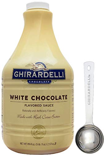 Ghirardelli - White Flavored Sauce, 89.4 Ounce Bottle - with Limited Edition Measuring Spoon Classic White Flavored Sauce