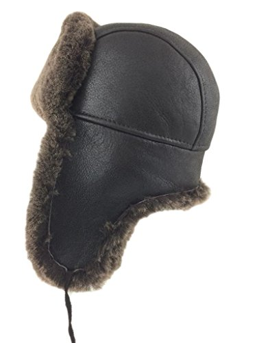 5f98b24f525 Zavelio Shearling Sheepskin Leather Aviator Russian Ushanka Trapper Winter  Fur Hat From Zavelio