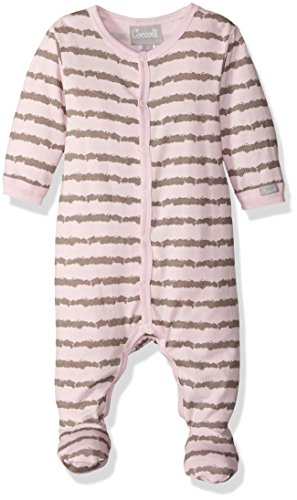 Striped Jersey Knit Cotton/Modal Footie, Slate/Pink, 9 Months ()