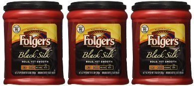 French Silk Flavored Coffee - Fresh Taste of Folgers Coffee, Black Silk Flavored Ground Coffee, Bold Yet Smooth, Dark Roasted 10.3 Oz Canister - (3 pk)