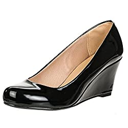 Forever Link Women's DORIS-22 Patent Round Toe Wedge Pumps Red 5.5
