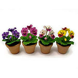 The Best Buy Set of 4 Dollhouse Miniature Pansy Flower in Terracotta Pots 53