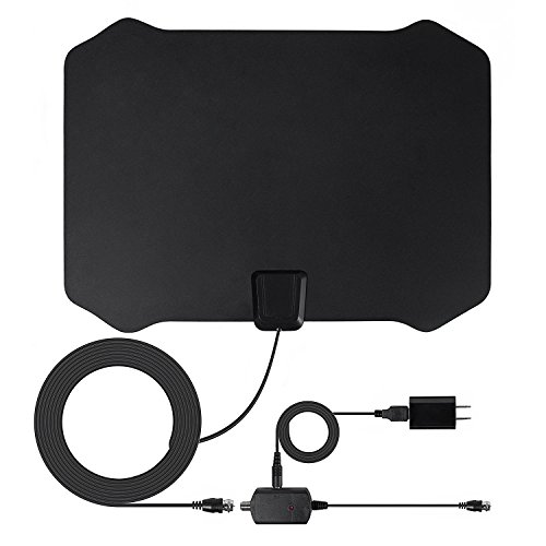 TV Antenna, ZetHot 50 to 70 Mile Range Amplified Indoor TV Antenna with Advanced Amplifier Signal Booster and 16.5FT Coax Cable for Digital Freeview, Premium Materials for Performance