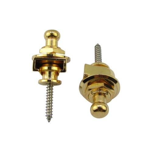 Musiclily Round Head Guitar Strap Locks System Schaller-Style Straplocks Parts,Gold(Pack of -
