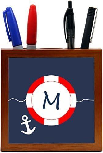 Rikki Knight Letter M S.O.S Red White on Blue Anchor Design 5 Wooden Tile Pen Holder (PH46193) [並行輸入品]