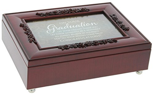 Cottage Garden Rosewood Music Box with Poem Insert ''You Light Up My Life'' (Graduation) by Cottage Garden