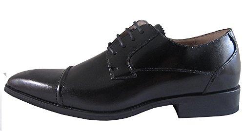 Lucas Cabaggi Hommes Robe Chaussure Style 137650 Noir Oxford Avec Bout Cap Et Doublure Supérieure En Cuir Lether