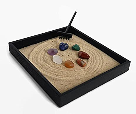 Chakra Stone Set Mini Zen Garden Healing Crystal Decor