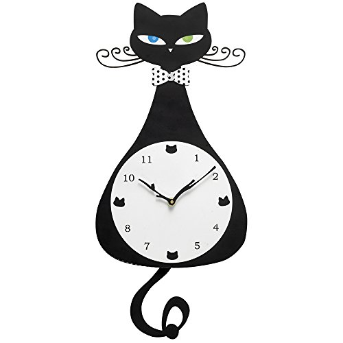 Bits and Pieces - 20-1/2 Inch Tall Cat Lover Wall Clock - Kitten Hanging Wall Art Home Décor