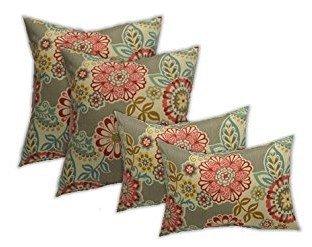 Set of 4 Indoor/Outdoor Pillows - Square Throw Pillows & 2 Rectangle / Lumbar Throw Pillows - Light Grey/Gray Paisley Floral -- Pink, Red, Yellow, Orange, White -- Choose Size (24