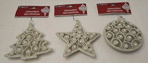 Christmas Pearl Tree Onaments Unique Elegant Set of 3 Decoration Decorative Glitter Holiday Ivory Ornament (Pearl Street Halloween Party)